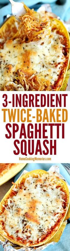 This Twice-Baked Spaghetti Squash recipe is an easy dinner idea that only needs spaghetti squash, mozzarella cheese, and your favorite pasta sauce. dinner spaghetti squash Easy Twice-Baked Spaghetti Squash Low Carb Recipes, Vegetarian Recipes, Cooking Recipes, Healthy Recipes, Veggie Recipes, Delicious Recipes, Cabbage Recipes, Vegetarian Cooking, Simple Vegetable Recipes