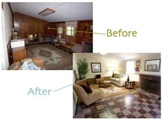 Wood Paneling Before And After | found this (above) before/after here . Even though they didn't ...