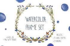 #Free #Download: Watercolor Frame Ribbons Set