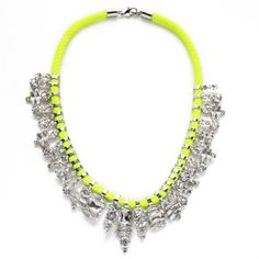 nOir, Neon Bright Snowflake Cluster Collar (in Pink not Yellow as shown), Worth $290