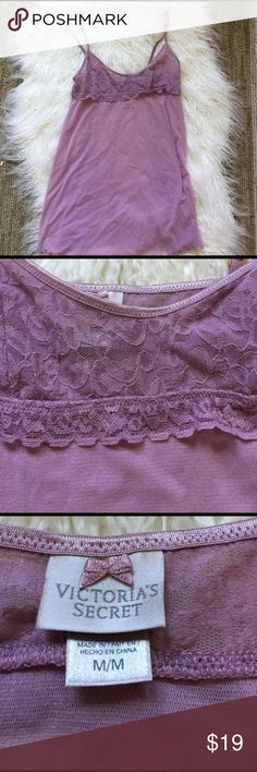 Dusty pink lace Victoria Secret Camisole. Medium Great dusty pink cami.  Lace detail.  Layer under a sweater or wear at night.  Beautiful piece.  Gold details on straps. Size medium. Victoria's Secret Intimates & Sleepwear