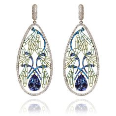 Ilgiz F, Dragonflies earrings in 18t gold, diamond, tanzanite and hand painted enamel
