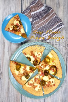 Soy Flour Pizza Dough A perfect gluten-free option for thin-crust pizza lovers! Thin Crust Pizza, Pizza Dough, Soy Flour Recipes, Gluten Free Pizza, Bacon Bits, Vegetable Pizza, Sous Vide, Snacks, Meals