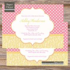 girls baby shower Invitation pink & yellow lemonade by paperclever