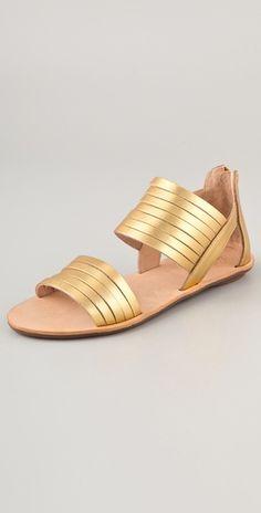 Loeffler Randall gold flat sandals...perfect simple metallic shoes for summer