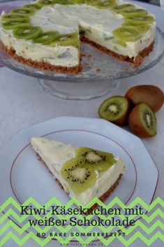 A delicious and fruity cheesecake with fresh kiwi and white chocolate. A great no bake summer recipe. Dessert Recipes, Dinner Recipes, Desserts, Kiwi Bird, Summer Recipes, White Chocolate, Camembert Cheese, Nom Nom, Cheesecake