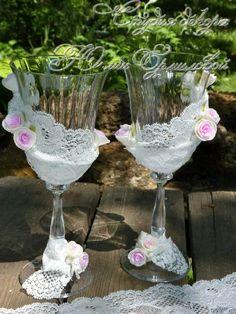 Свадебные бокалы с кружевом - Ярмарка Мастеров - ручная работа, handmade