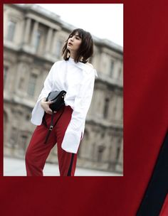 HOW TO WEAR RED TRACK PANTS THE CASUAL CHIC WAY: w/ Gucci Princetown Slipper, oversized sleeves & statement earrings.