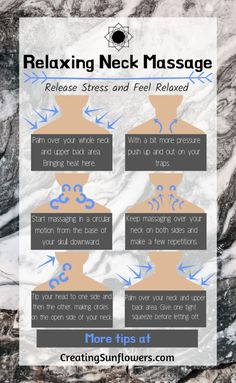Self massage infographic and more massage tips to get you feeling relaxed. Solve neck pain and knots with a self massage for your neck and shoulders. How to get the massage benefits at home. Massage Tips, Self Massage, Massage Benefits, Facial Massage, Massage Therapy, Baby Massage, Technique Massage, Shoulder Massage, Reflexology Massage