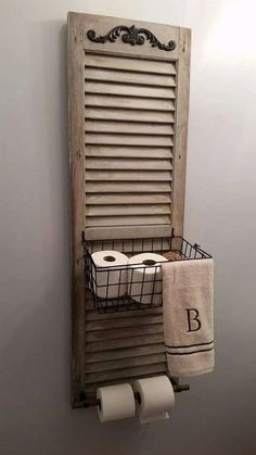 34 Ways Decorating with Old Shutters Can Make Your Home Charming Window Shutter Toilet Paper Holder Old Shutters, Repurposed Shutters, Farmhouse Shutters, Rustic Shutters, Small Shutters, Bedroom Shutters, Interior Shutters, Kitchen Shutters, Salvaged Doors