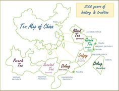 Tea Map of China - depicts what teas make each region famous. #Tea #China