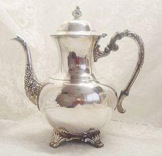 WM. A. Rogers Victorian coffee pot silver door MyVintageRoseShop