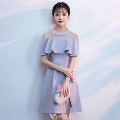 c461ef8c32d Modest   Simple Grey See-through Homecoming Graduation Dresses 2018 A-Line    Princess Scoop Neck Short Sleeve Short Ruffle Split Front Formal Dresses