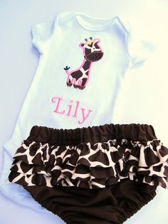 Personalized Embroidered Giraffe Onesie and Ruffled Diaper Cover Set- Giraffe Onesie Set- Personalized Embroidered Giraffe Onesie. $34.00, via Etsy. ****if it's a girl!