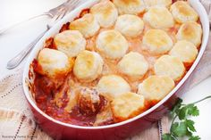 Grade: A   Super yummy, though I never would have thought to put some of these ingredients together. I used frozen meatballs.  Upside-down meatball casserole recipe