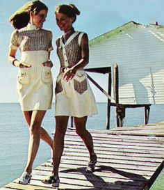 """March 1971. """"Neutrals on the double, romp in a mix of sand-color canvas spliced with random dyed knits."""""""