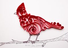 Quilled and Sketched Cardinal Hybrid
