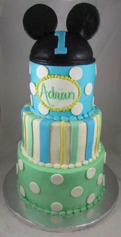 Pastel Mickey Mouse birthday cake.  See more Mickey Mouse birthday party and kids birthday party ideas at www.one-stop-party-ideas.com