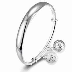 Free Shipping online shopping india silver Plated friendship bangle Smooth lob Women Wedding Bracelet jewelry HBB044 #Affiliate