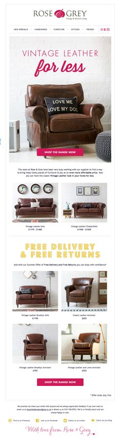 Email inspiration ROSE & GREY online home furnishings.