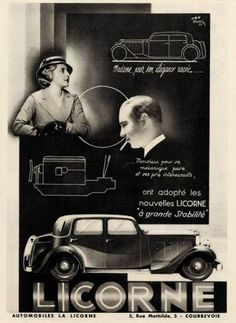 Vintage French Ad  Licorne Automobile 1933 by reveriefrance, $18.00