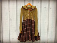 S-M Woodland Sweater Dress// Green Brown// Upcycled by emmevielle gypsy boho magnolia faerie fairy