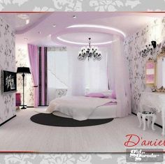 Beautiful bedroom for a growing girl. Very sophisticated.