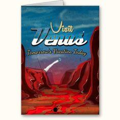 Visit Venus Vintage Poster Greeting Cards