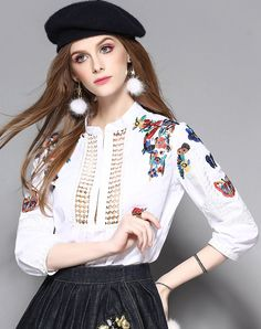 #VIPme White Butterfly Embroidery Cut-out Cotton Shirt ❤️ Get more outfit ideas and style inspiration from fashion designers at VIPme.com.