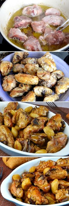 Este POLLO al AJILLO Turkey Recipes, Mexican Food Recipes, Chicken Recipes, Salvadoran Food, Salsa Ajo, Boricua Recipes, Spanish Dishes, Good Food, Yummy Food