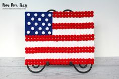 Pom Pom Flag, great kid's craft for 4th of July.
