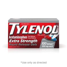 Tylenol Extra Strength Rapid Release Gels with Acetaminophen, Pain Reliever & Fever Reducer, 100 ct Health Heal, Thing 1, Medical Help, Health Facts, Product Label, Over Dose, Active Ingredient, Pain Relief, Medicine