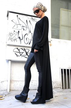 Black Asymmetrical Top / Long Blouse Extra Long Sleeves / Asymmetric Tunic Top USD) by Aakasha Black Wardrobe, Teaching Outfits, Asymmetrical Tops, Fashion Images, Dress To Impress, Casual, Trending Outfits, My Style, Long Sleeve