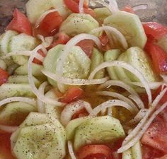 Cucumber, Onion, and Tomato Salad!  3 Tomatoes, 3 cucumbers, 1 onion, 1/2 cup apple cider vinegar, 1 teaspoon of cracked pepper, 2 table spoons of sugar (TOTALLY YOUR CHOICE), 2 teaspoons of salt, ( I would cut down on the salt too )1 cup of water, 1/4 cup of olive oil, mix well...thats it. Let it chill for 1-2 hours... That simple...
