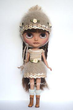Crochet set for Blythe doll Light Brown/ Cream tones by ByArtemis