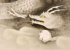 'Dragon' lithograph by Atsushi UEMURA - Japanese Painting Gallery Kyoto, Dragon Sketch, Dragons, Painting Gallery, Japanese Painting, Illustrations, Asian Art, Oriental, Carving