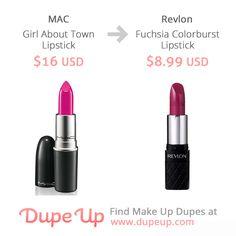 MAC Girl About Town Dupe Lip Makeup, Makeup Brushes, Mac Girl About Town, Mac Lipstick Dupes, Make Up Dupes, Revlon, Lip Colors, Swatch, Cosmetics