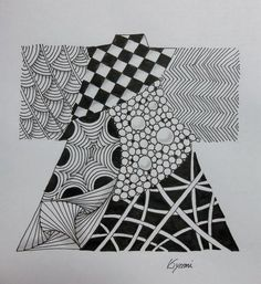 Zentangle drawing silhouette of the kimono in Japan / by Kiyomi