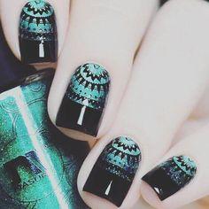 +80 Diseños de uñas decoradas color negro | Decoración de Uñas - Nail Art - Uñas decoradas - Part 6