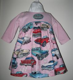 Baby kjole med amerikaner biler - baby dress with oldsmobile