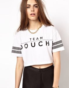 Image 1 of Criminal Damage Crop T-Shirt With Team Douche Print Cute Shirt Designs, Crop Top Designs, New T Shirt Design, Casual T Shirts, Cute Shirts, Casual Outfits, Only Play, Basic Tees, Fashion Images