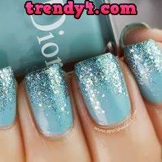 Blue Ombre Glitter nail art design ~ Dior: Saint Tropez (is a vibrant turquoise creme) with Nails Inc. Hammersmith glitter on the tips. ***I wonder if this is how Elsa's nails look? Love Nails, How To Do Nails, Fun Nails, Sparkle Nails, How To Ombre Nails, Ombre Nail Art, New Year's Nails, Nails Inc, Wedding Day Nails