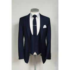 Slim fit royal blue wedding lounge suit with scoop waistcoat