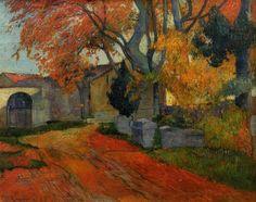 Lane at alchamps, Arles, 1888 by Paul Gauguin, Breton period. Post-Impressionism. landscape. Seiji Togo Memorial Yasuda Kasai Museum of Art, Tokyo, Japan