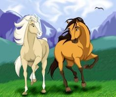 Spirit & Esperanza - Spirit: Stallion Of The Cimarron Fan Art Mom and son! Spirit The Horse, Spirit And Rain, Spirit Der Wilde Mustang, Wilde Mustangs, Horse Movies, Childhood Movies, Horse Drawings, Disney Movies, Disney Art