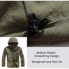 Mens Tactical Military Multi-Pockets Fleece Hooded Outdoor Jacket for Winter