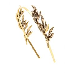 Oscar de la Renta - Pave Spike embellished headband - This delicate design from Oscar de la Renta will add a dazzling finishing touch to your evening attire. The embellished leaf details will frame the face beautifully and add a subtle sparkle to your look. seen @ www.mytheresa.com