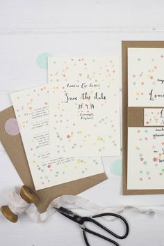 'confetti' save the date postcard by wildflower illustration co…