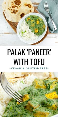 Vegan Palak Tofu Paneer - This recipe is a vegan version of the Indian spinach curry, Palak Paneer, that uses tofu instead of the typical Indian cheese 'paneer': Palak Tofu. It's rich, creamy and delicious! | ElephantasticVegan.com #vegan #curry #spinach #palaktofu #tofu