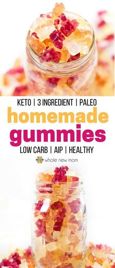 Low Carb Recipes Homemade Gummies - keto, low carb, paleo, AIP, sugar free - Need a healthy snack that's easy to take on the go? This Gummy Candy is loaded with tons of nutrition so you can feel good about serving to your kids anytime! Low Carb Sweets, Low Carb Desserts, Low Carb Recipes, Real Food Recipes, Snack Recipes, Dinner Recipes, Keto Foods, Healthy Treats, Healthy Drinks